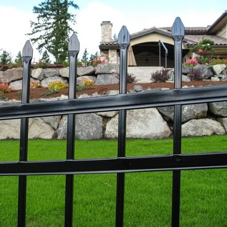 Close up of montage classic ornamental fence