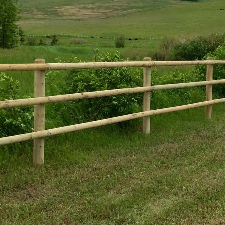 Post and rail fence in green field rural alberta